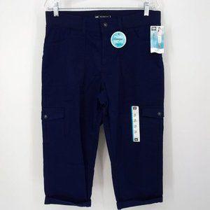 New Lee Sz 10 Capri Pants Navy Blue Cargo Relaxed